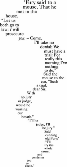 The mouse's tale poem from Alice in Wonderland